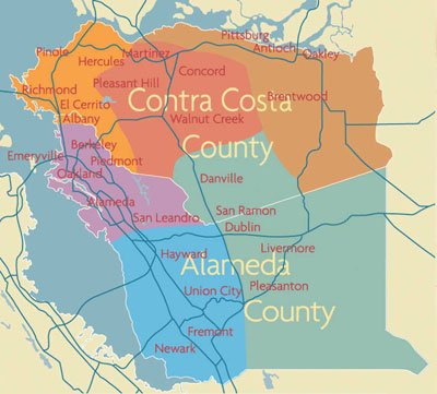 East Bay Movers Region Map
