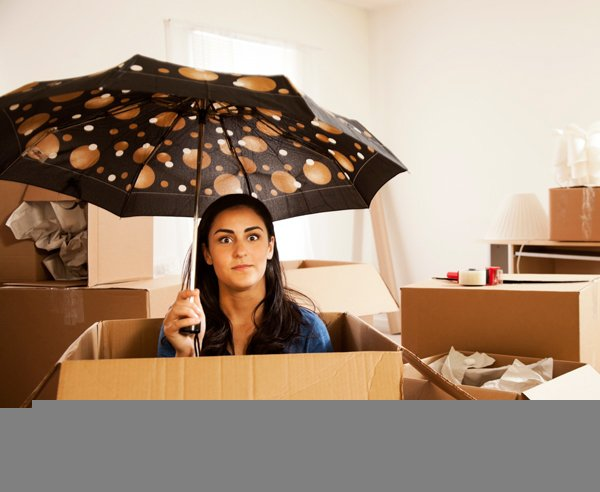 Waiting for Bay Area Moving Company with Umbrella